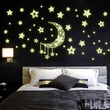 2019 New Star Moon Planet Glow In The Dark Luminous Fluorescent Wall Stickers Kids Room Decor Bedroom Decal