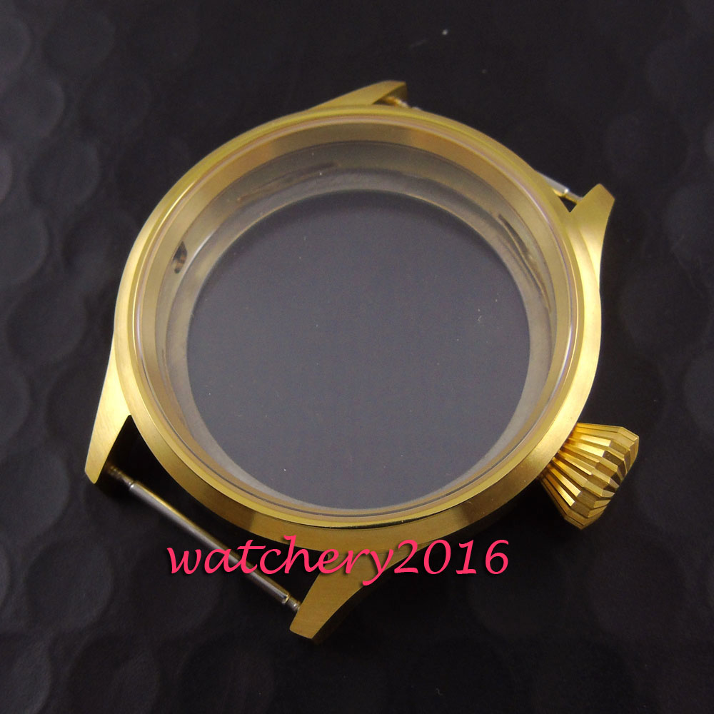 Brushed 43mm Parnis rose golden stainless case 6497 6498  movement watch Case 46mm stainless steel rose golden parnis watch case fit 6498 6497 movement c21