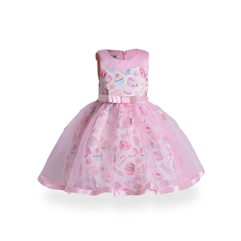 European Girl Robe Enfant Ice Cream Print Dress Princess Costumes Children Party Gown Girls Christening Dresses Kids Clothing
