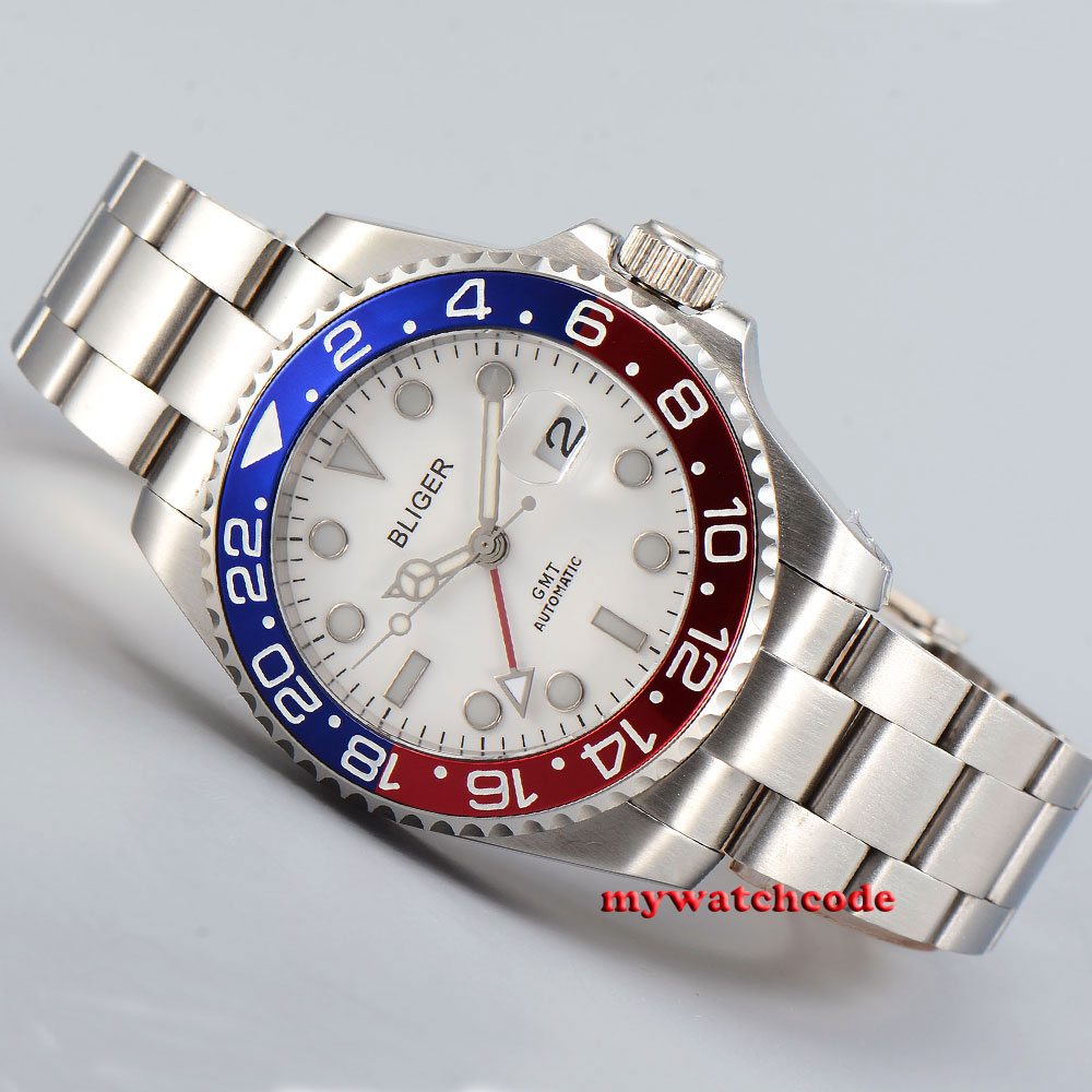 40mm Bliger white dial red GMT luminous sapphire glass automatic mens watch B193 цена и фото