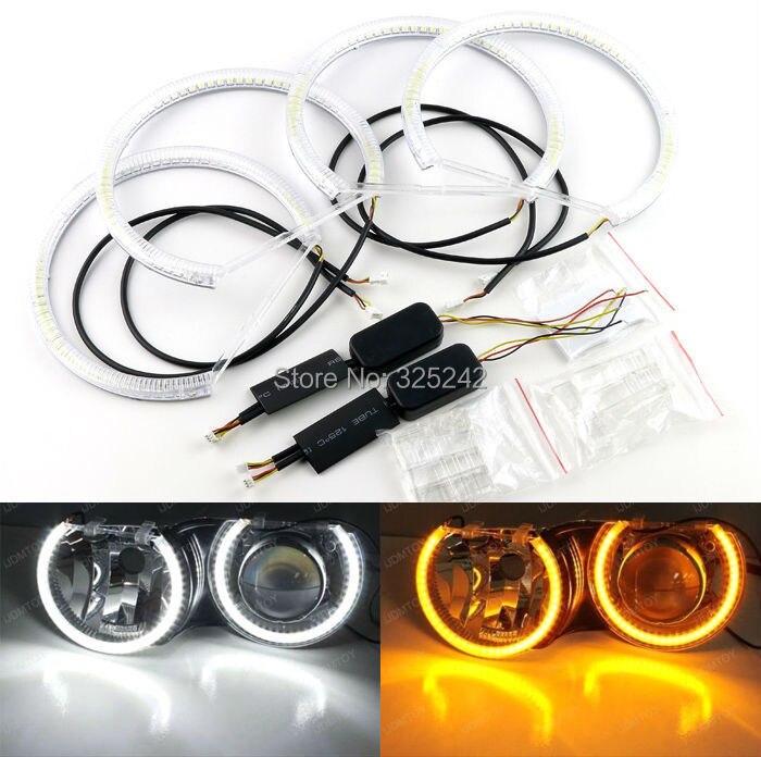 Pour BMW E36 E38 E39 E46 3 5 7 série phare xénon Excellent Ultrabright double couleur Switchback LED Angel Eyes Halo anneaux kit