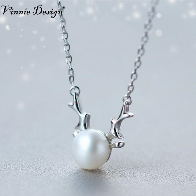 Vinnie design jewelry 925 sterling silver freshwater pearl deer vinnie design jewelry 925 sterling silver freshwater pearl deer antler pendant necklace for women girls as aloadofball Images