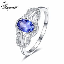 lingmei Classic Wedding Engagement Bride 925 Jewelry Blue & Red White Cubic Zircon Silver Women Ring Size 6 7 8 9 Gifts