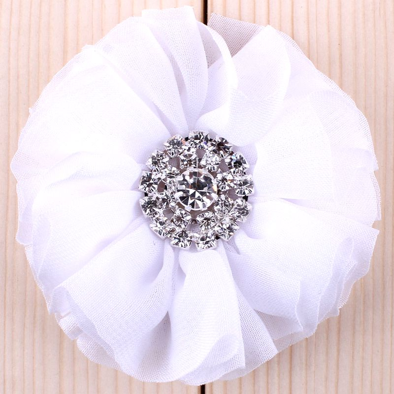 Image 5 - (120pcs/lot)2.8 15 Colors Fluffy Ruffled Flower For Hair Clips  Chic Chiffon Metal Alloy Button Flower Accessories For Kidsbutton  pressbutton elevatorbutton french