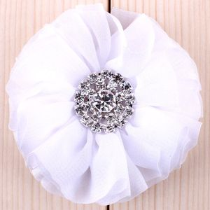 "Image 5 - (120pcs/lot)2.8"" 15 Colors Fluffy Ruffled Flower For Hair Clips Chic Chiffon Metal Alloy Button Flower Accessories For Kids"
