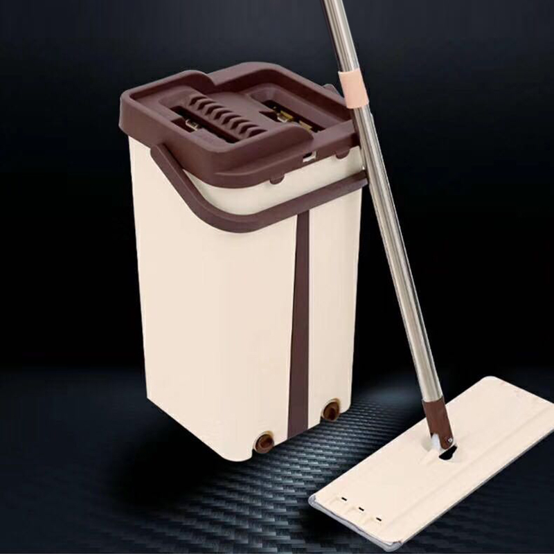 Flat Squeeze Mop and Bucket Hand Easy Wringing Floor Cleaning Mop Microfiber Mops 2019 New|Mops| |  - title=