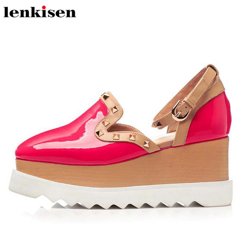 Lenkisen 2018 large size square toe rivet high heels ankle buckle strap causal shoes comfortable party wedges women sandals L04