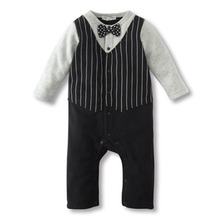 Newborn Baby Rompers Clothing Baby Girls Clothes Tie Gentleman Bow Toddler 2 Pcs Set Jumpsuit