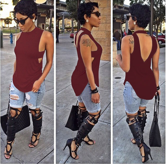 Neon Green Women Blouse Tank Red Side Tab Cutout Top Summer Style Fashion Open Back Sleeveless Tops