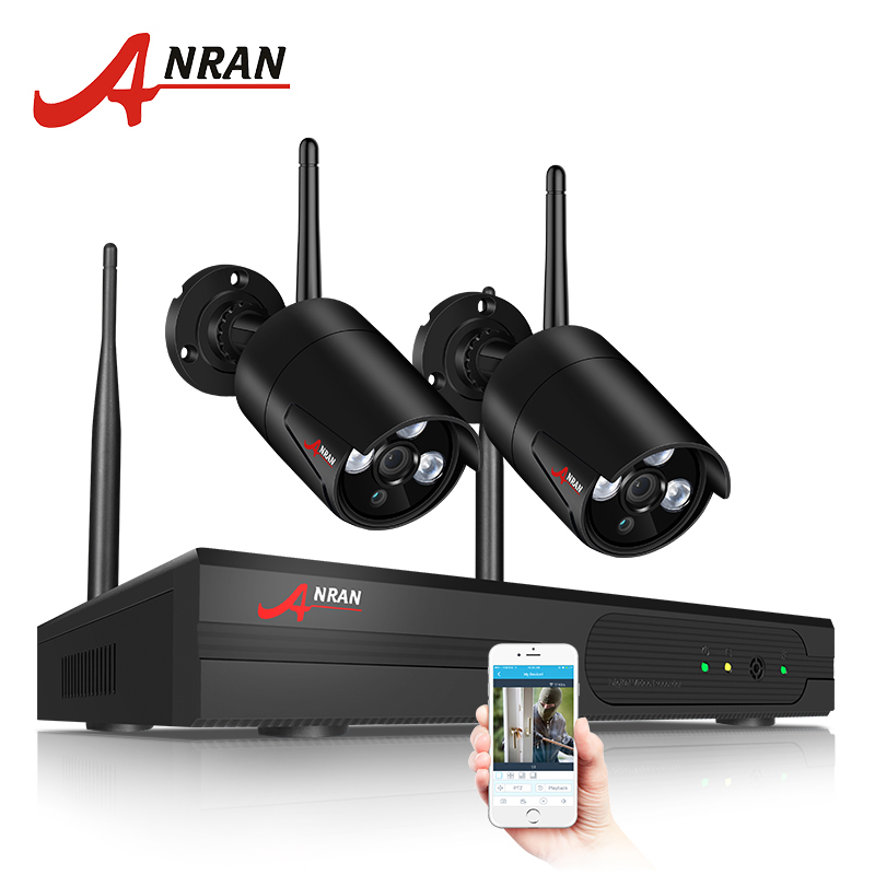 ANRAN CCTV Camera System 4CH Wireless NVR Kit With 2PCS 960P HD IP Camera Home Security Camera Night Vision Surveillance System