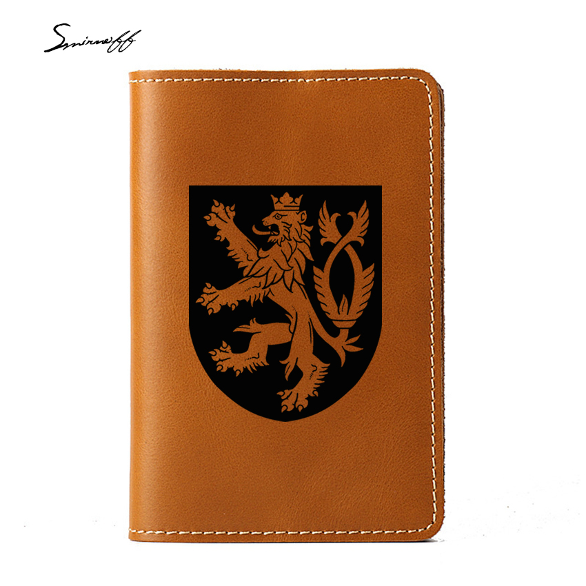 купить Travel Accessories Czech Republic Passport Case 4 Card Holders Purse Cow Leather Engraved Czech Logo Passport Cover по цене 610.48 рублей