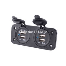 DIY Car Charger Adapter 12/24V Dual Hole 4-Port USB 5V 1A + 2.1A Waterproof Cigarette Lighter(China)