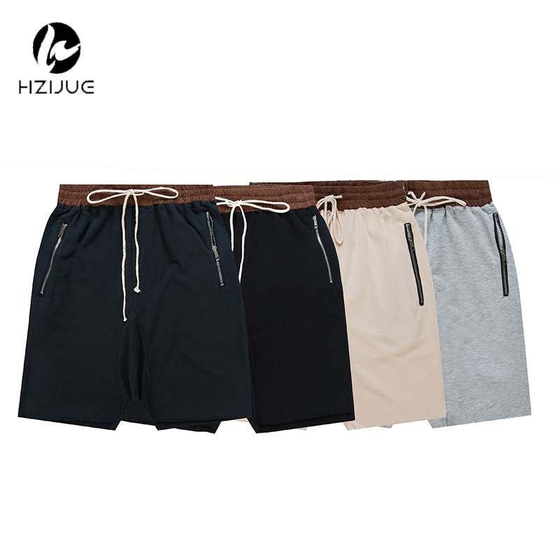 HZIJUE streetwear hip hop dance clothes stage clothing for men black/grey short mens stretch cotton sweat jogger shorts