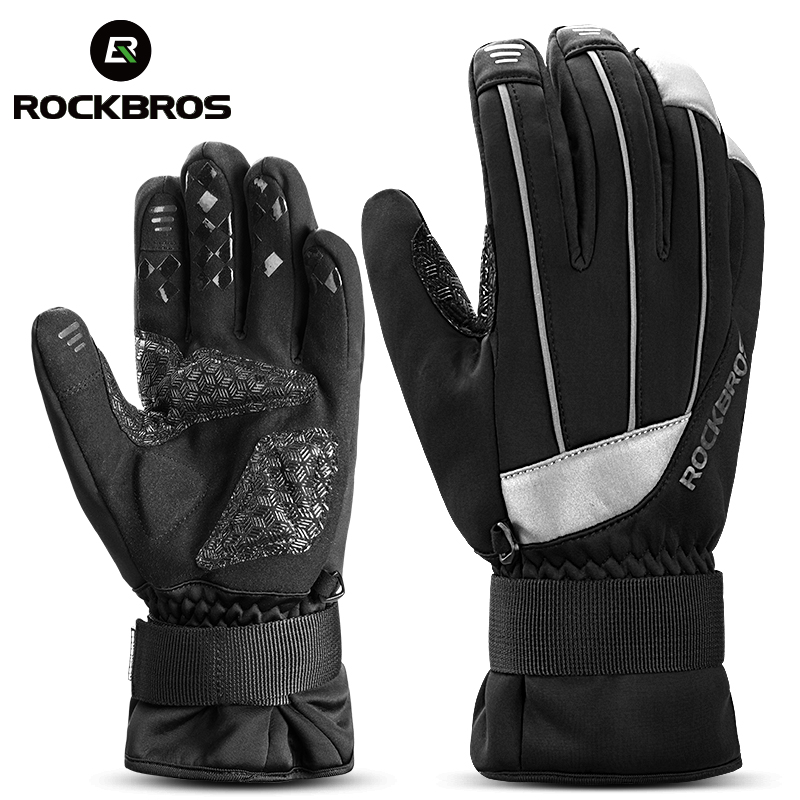 ROCKBROS Winter Waterproof Touch Screen Ski Gloves Anti-slip Warm Fleece Heated Reflective Snowboard Gloves For Skiing Cycling