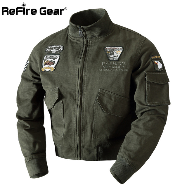 ReFire Gear Winter Military Air Force Pilot Jacket Men Warm Thick Wool Liner Cotton Army Jacket Thermal Outerwear Tactical Coat