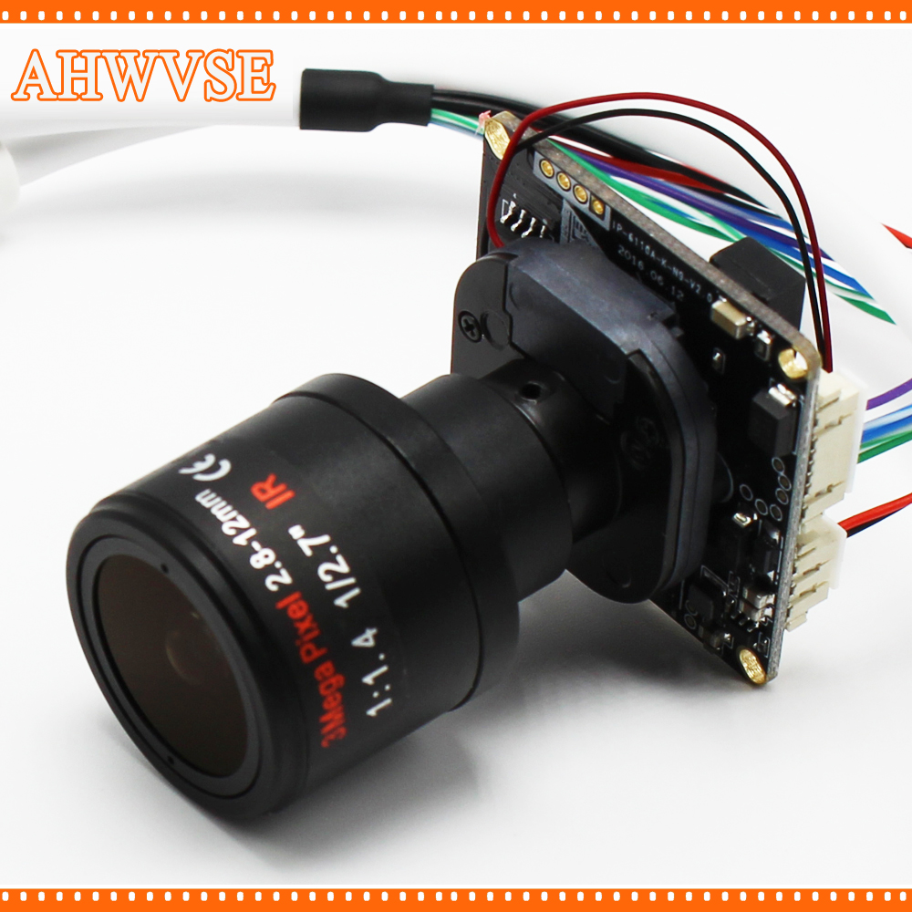 AHWVSE High Resolution 1080P 25fps IP camera module board with 2.8-12mm Lens H.264 720P 960P CCTV camera with LAN cable ONVIF ahwvse hi3516c imx322 1080p 25fps 720p 960p hd poe ip camera module board diy camera with lan cable onvif p2p ircut