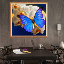 Hot sale Needlework 5d diamond painting Blue butterfly mosaic handmade rhinestone needlework embroidery Home decor