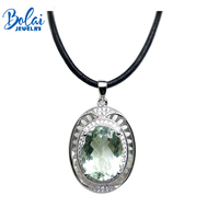 Bolaijewelry,natural big size green amethyst pendant&necklace with leather chord necklace 925 silver for party women gift
