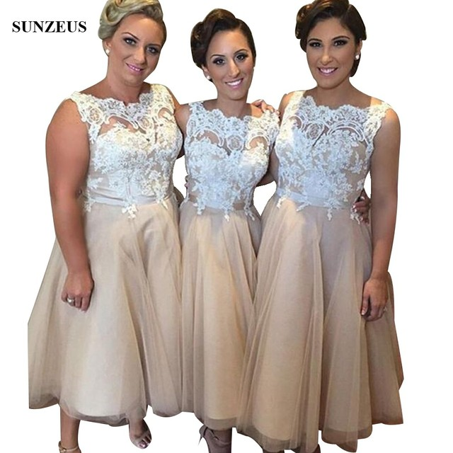 Tea Length Champagne Bridesmaid Dresses With Appliques Lace Bodice Women  Wedding Party Gowns brautjungfernkleid BDS015 a1a6c8fdf257