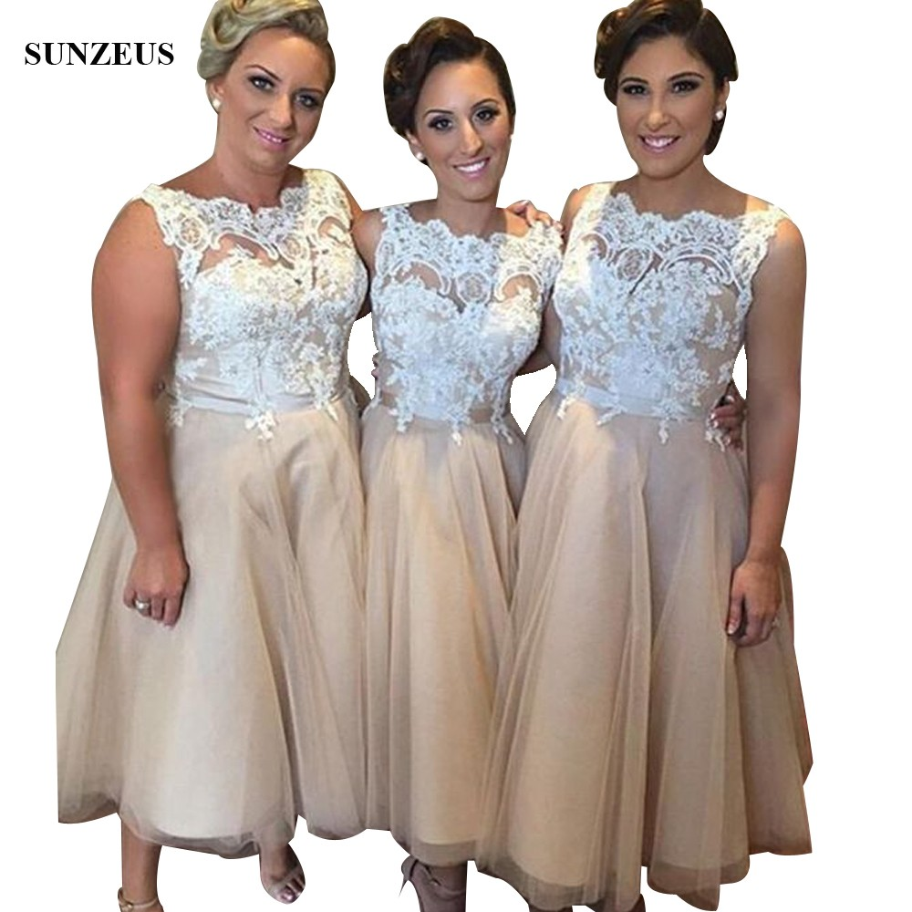 Tea Length Champagne   Bridesmaid     Dresses   With Appliques Lace Bodice Women Wedding Party Gowns brautjungfernkleid BDS015