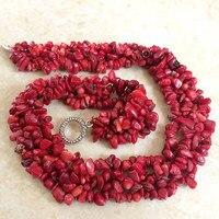 Fashion natürliche rote coral unregelmäßige kies chips perlen diy halsreifen ketten halskette für frauen romantische schmuck gifs 18 zoll B522