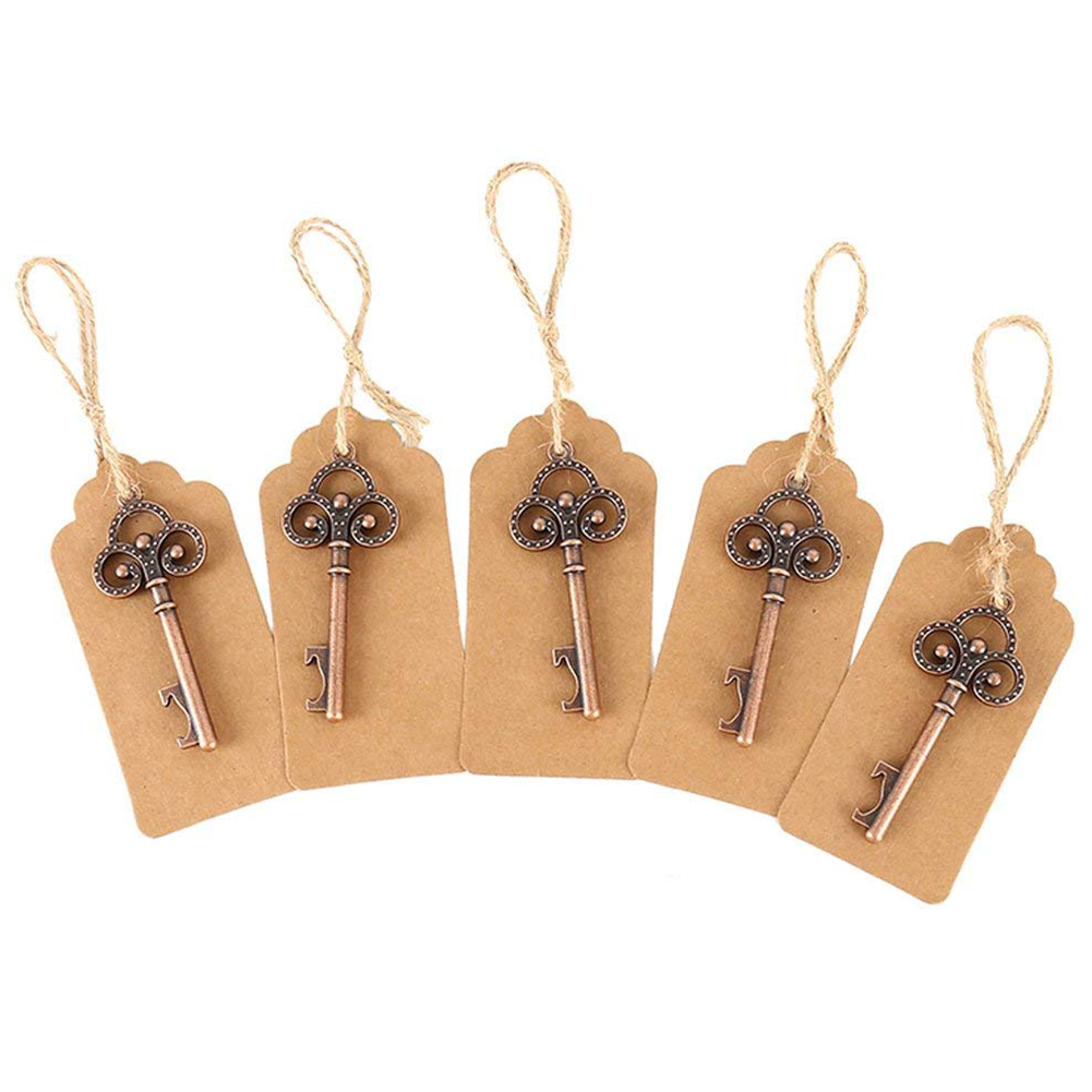 50Pack Key Bottle Opener With Tag Cards Wedding Favour Skeleton For Party Rustic Decoration