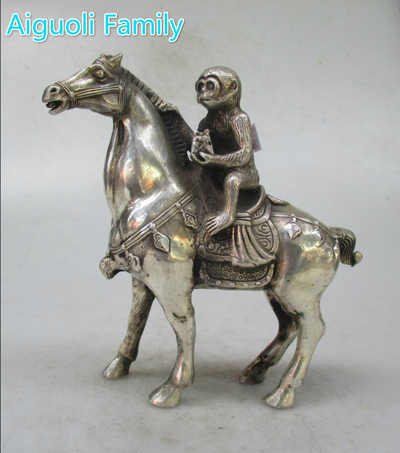 Metal Crafts Christmas Home decorations+Chinese Old Handwork Tibet Silver Carved Monkey Riding Horse Statue/ sculpture