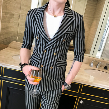 2019 Black and White Pinstripe Suits Mens Double Breasted Suits Traje Elegante De Hombre Wedding Dresses Mens Khaki Club Outfits
