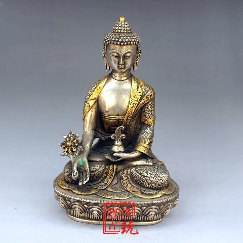 Antique Simulated Copper Silver-plated Gold Samboo Buddha Pharmacist Buddha Bronze Statue Amitabha BuddhaAntique Simulated Copper Silver-plated Gold Samboo Buddha Pharmacist Buddha Bronze Statue Amitabha Buddha