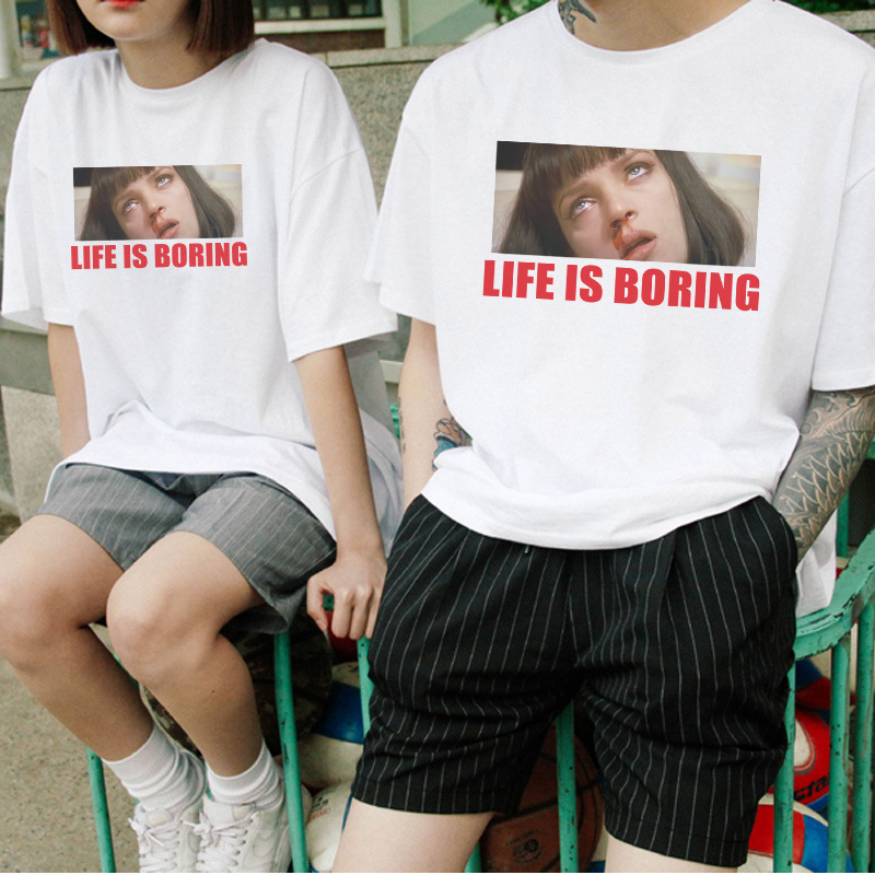 Pulp Fiction Life Is Boring T-Shirt Men 2019 Hot Summer Hip Hop Movie T Shirts Harajuku Streetwear Brand Hipster Punk Tops BZ061