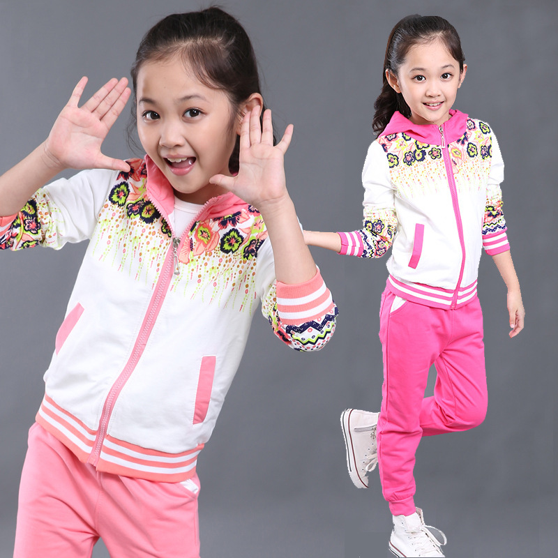 Spring Baby Girls Clothes Jacket Floral Kids Hoodies+Pants Kids Tracksuit For Girls Clothing Sets Girls Sport Suit for 12 years retail 2pcs brand new design girls clothing sets for kids autumn tracksuit for girls velvet jacket pants children sport suit