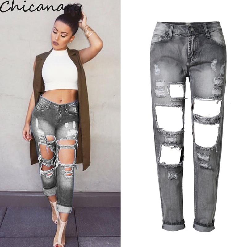 ФОТО Women Vintage Harem Pants Loose Casual Hole Boyfriend Jeans Lady Fashion Denim Pencil Pants Women's Mid Waist Jeans Plus Size