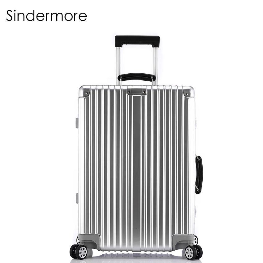 Sindermore 20 24 26 28 зеркало моды сбоку Винтаж прокатки Hardside багажа дорожного чемодана с колесами кожаные ручки TSA