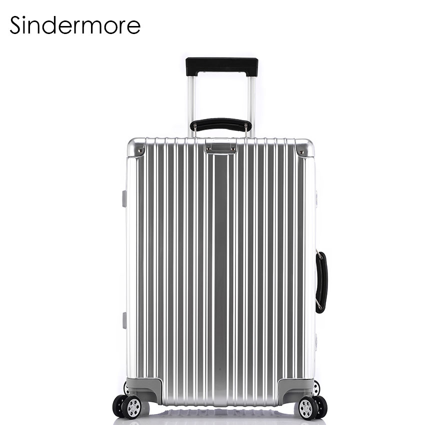 """Sindermore 20""""24""""26""""28"""" Vintage Rolling hardside luggage travel suitcase with wheels Leather handles Custom laser engraving"""
