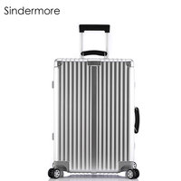 Sindermore 20 24 26 28 Vintage Rolling Hardside Luggage Travel Suitcase With Wheels Leather Handles Custom
