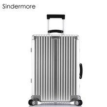 """Sindermore 20 """"24"""" 26 """"28"""" Maleta de viaje de equipaje de laminación vintage con ruedas y ruedas Mangos de cuero Grabado personalizado por láser"""