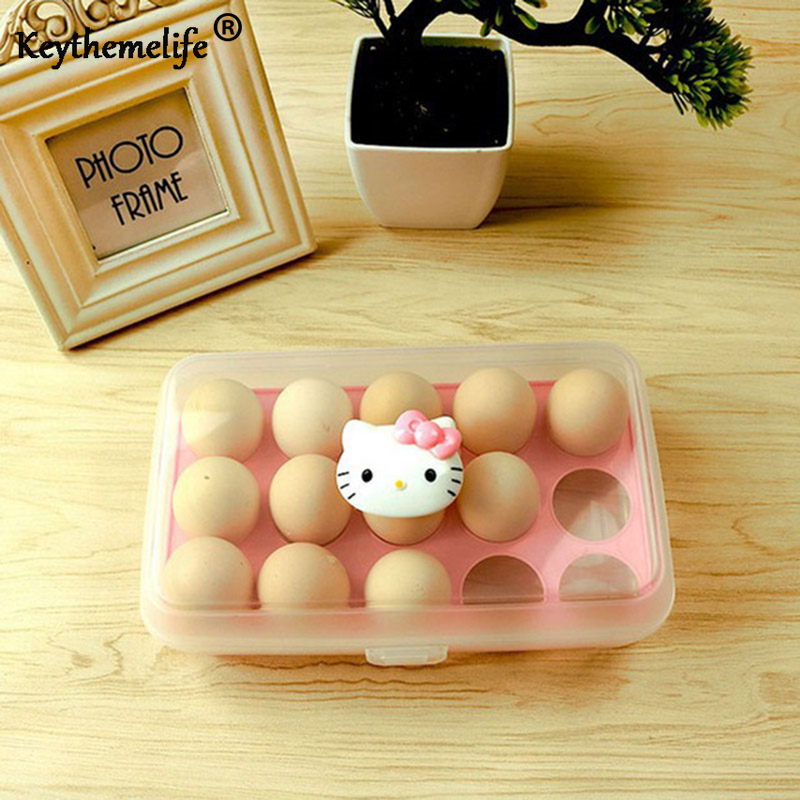 15 Grid Cartoon Egg Covered Storage Holder Plastic Container Hello Kitty Kitchen Refrigerator Eggs Storage Box B4