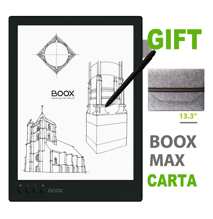 ONYX BOOX MAX Carta 13.3″ Flexible Screen E-book Reader 1G/16G Bluetooth 2200×1650 Ebook Reader E-ink Ereader+Case