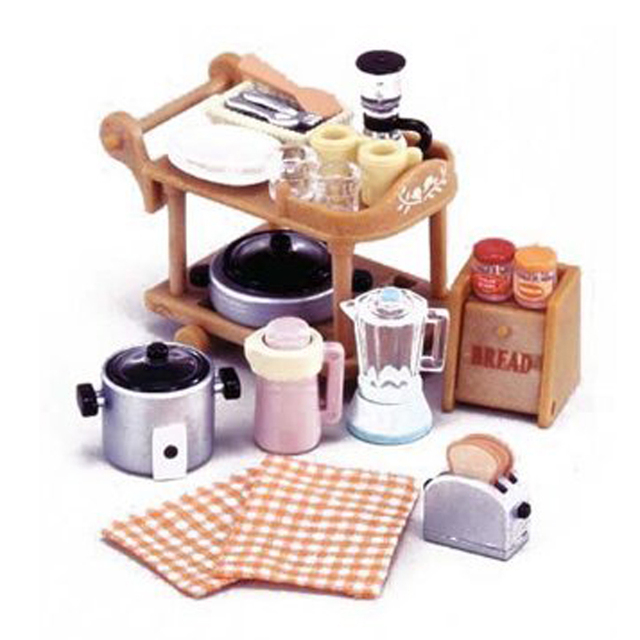Mini 112 Miniature Kitchen Room Set For Sylvanian Family Restaurant Dining Cart Dolls