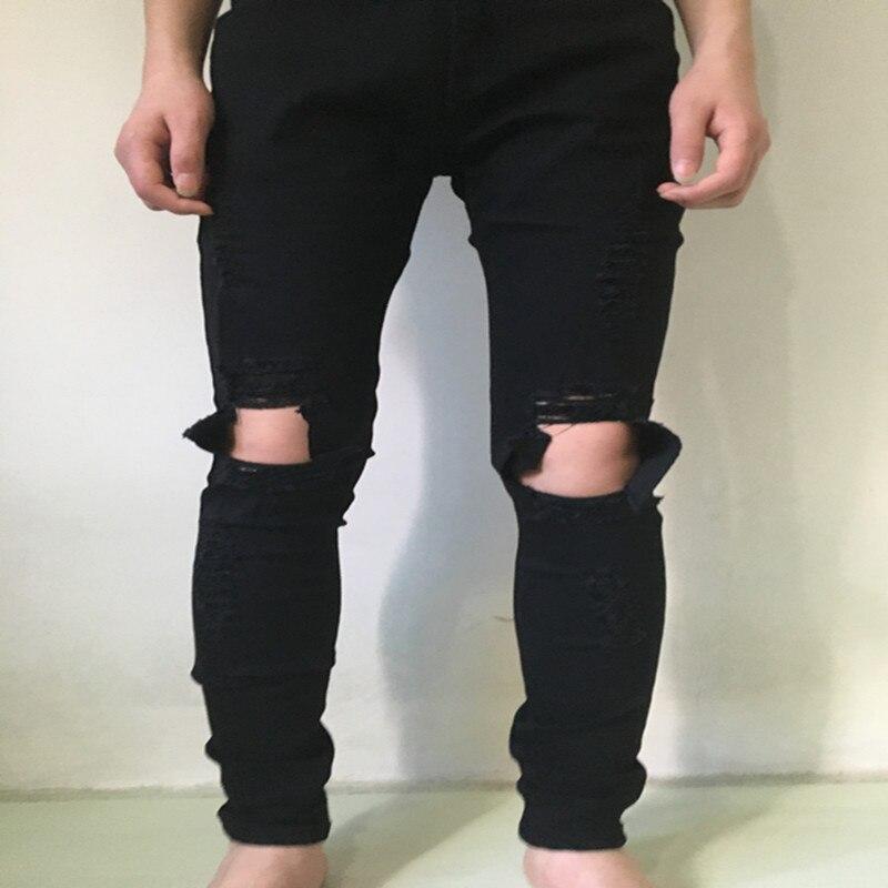 090d109254 Summer stretch jeans rasgados hombres hip hop slim fit rodilla gran  destruido roto dañado demin jeans azul y negro botín PANTALONES en  Pantalones vaqueros ...