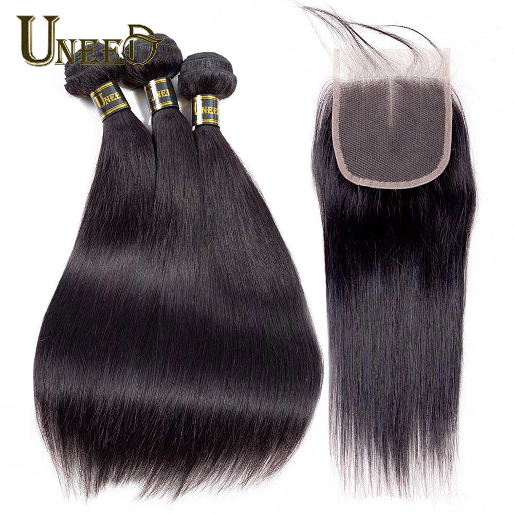 Human Hair Weaves Precise Uneed Brazilian Straight Hair 3/4 Bundles With Closure Double Weft Remy Human Hair Bundles With Baby Hair Lace Closure Keep You Fit All The Time
