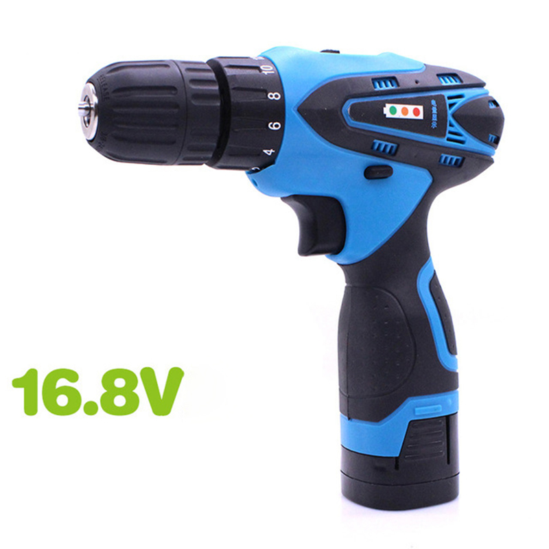 16.8V Electric Drill Household Multi-function Electric Screwdriver Double Speed Lithium Cordless Drill Power Tools