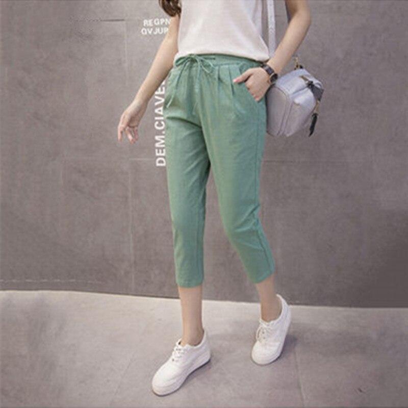 Plus Size 3XL 2018 Summer Women Casual Calf-length Harem   Pants   Loose Elastic Waist Cotton Linen   Capris     Pants
