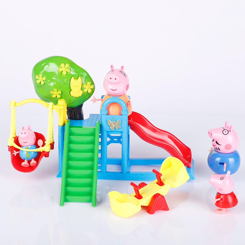 Amusement park slide Peppa Pig Figure ToysPlay House Swing Ferris Wheel Set PVC Action Toys Juguetes Baby Kid Birthday Gift aiboully toys series of amusement park toys pvc action figures family membe toy baby kid birthday gift