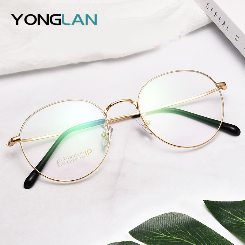 Pure titanium Optical Glasses Frame Ultralight Round Design Men Women Myopia Optics Eyewear Clear Lens Gafas Goggles in Men 39 s Eyewear Frames from Apparel Accessories