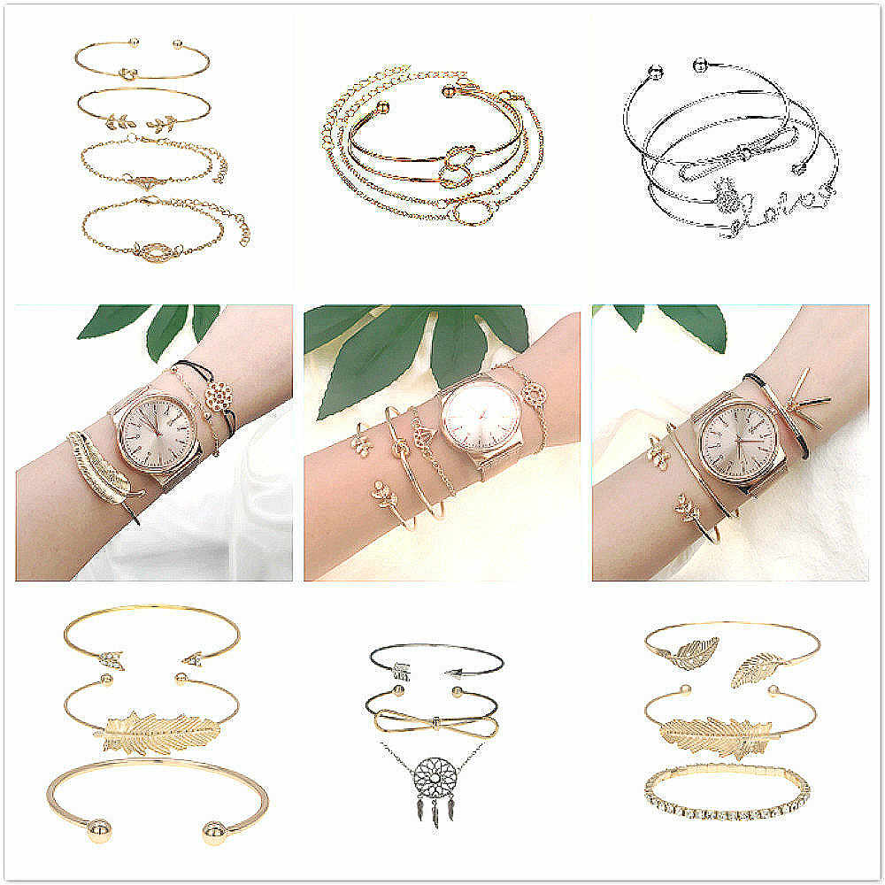 1 Set Sell Fashion Punk Gold Chain Moon Leaf Crystal Geometry Cuff Bracelets Women Beach Jewelry Direct Sell