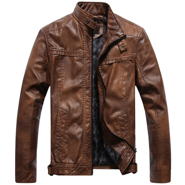 Fashion Vintage Stand Collar Motorcycle Jacket Men High Quality Slim Fit Chaquetas Motocicletas Hombre