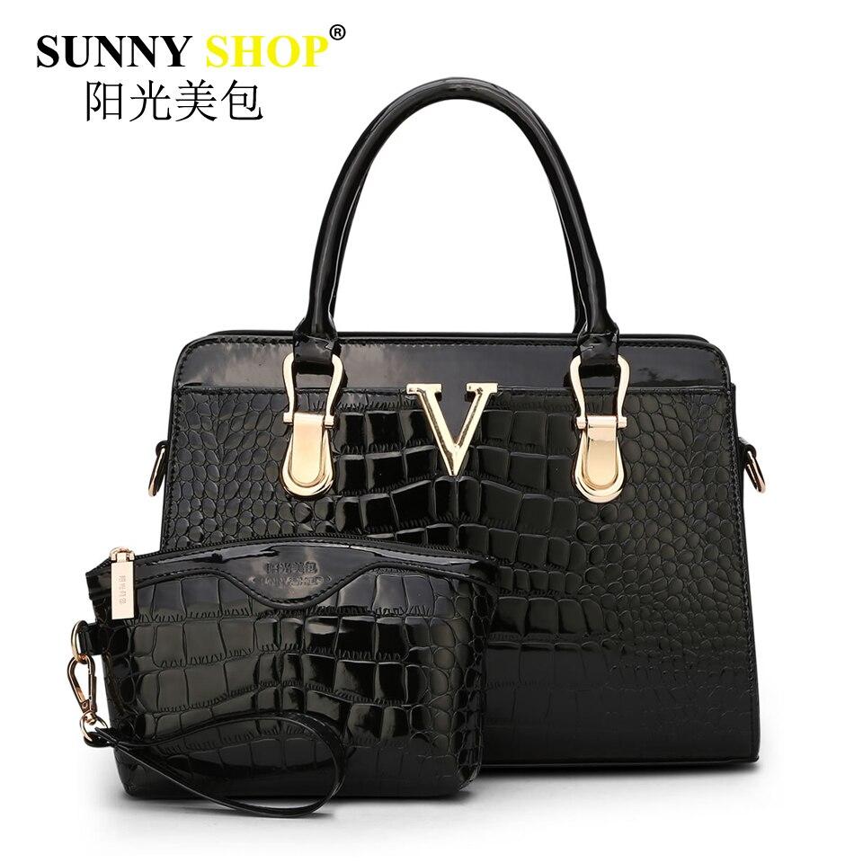 SUNNY SHOP 2017 new women handbag shoulder messenger bags vintage crossbody bag letter alligator clutch patent leather sac mb46 patent leather handbag shoulder bag for women