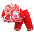 Cotton Red Kitty Cat Children's Clothing Set Winter Long Sleeve Chinese Tang Suits Happy New Year Thickened Cotton-Padded Jacket