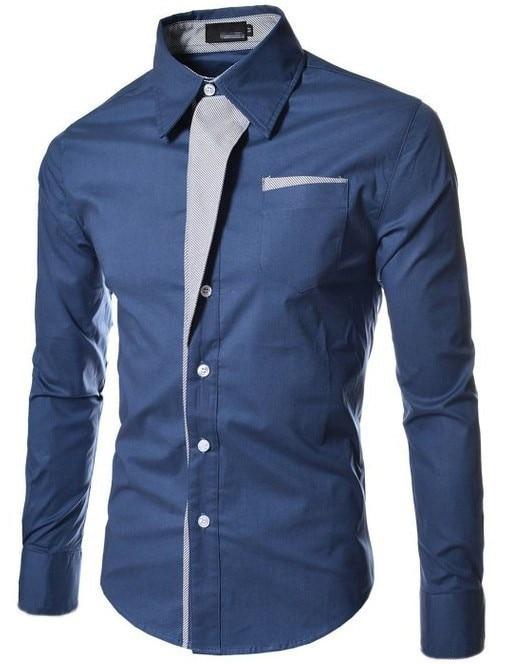 2017 new brand long sleeve shirts social male 5 colors slim fit  striped shirts plus size 3xl mens dress shirts 10